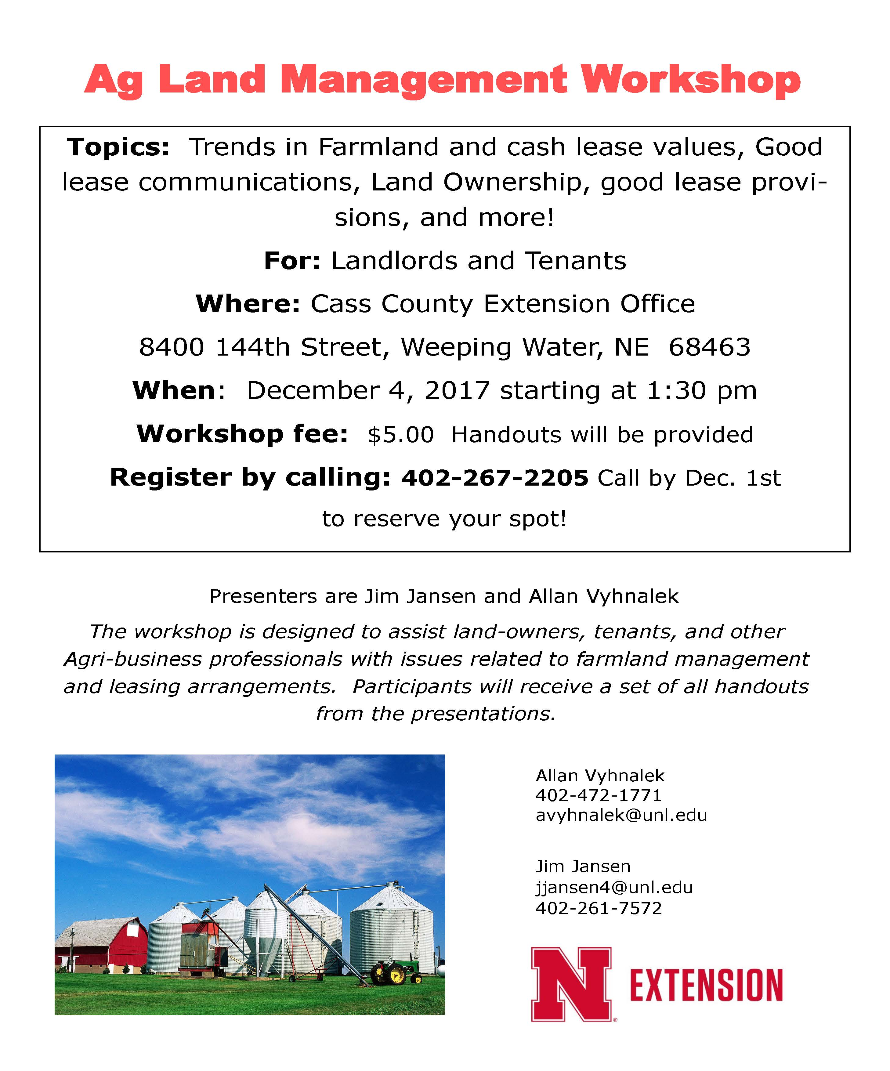 Ag Land Mgt Workshop Dec 4 2017