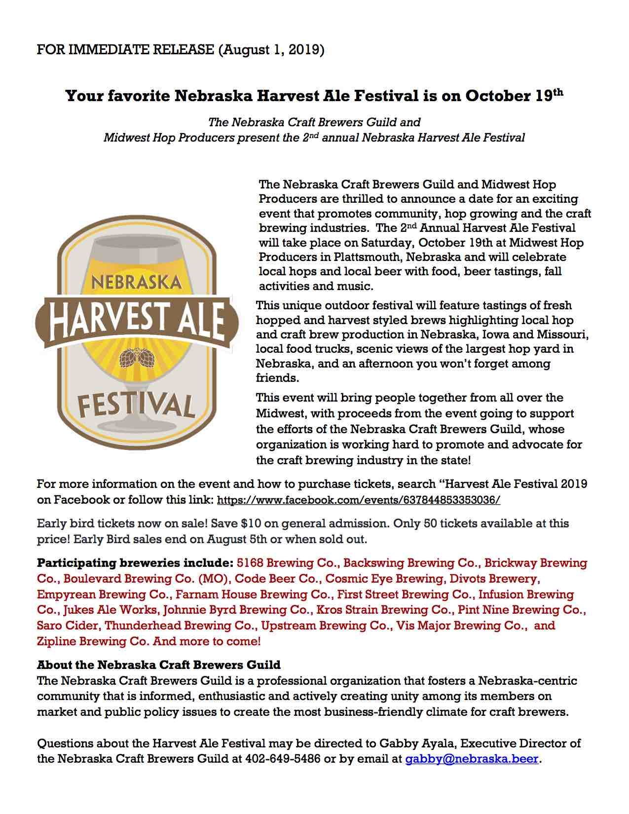Harvest Ale 2019 Press Release 8.1.2019