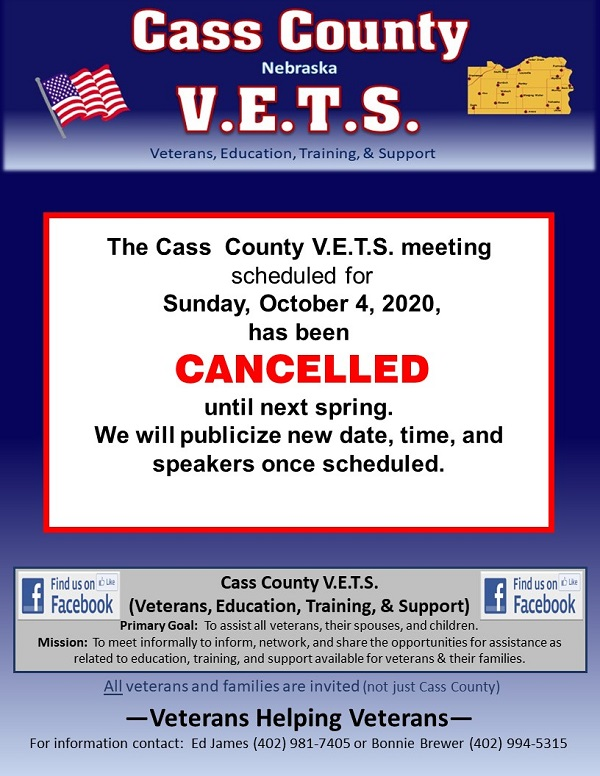 VETS Oct 4 2020 cancelled